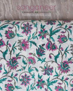 Sanganeer Handblock Printed Saree