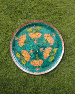 "Copper Enamel Wall Plate ""Gardens of Vishwakarma, Greens-Hibiscus-L"" by Ekibeki"
