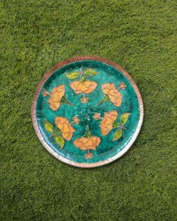"Copper Enamel Wall Plate ""Gardens of Vishwakarma, Greens-Hibiscus-M"" by Ekibeki"