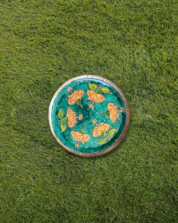 "Copper Enamel Wall Plate ""Gardens of Vishwakarma, Greens-Hibiscus-S"" by Ekibeki"