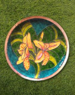 "Copper Enamel Wall Plate ""Gardens of Vishwakarma, Greens -Canna-L"" by Ekibeki"
