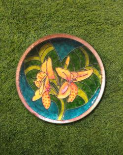 "Copper Enamel Wall Plate ""Gardens of Vishwakarma, Greens -Canna-M"" by Ekibeki"