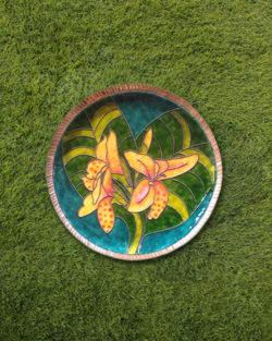 "Copper Enamel Wall Plate ""Gardens of Vishwakarma, Greens -Canna-S"" by Ekibeki"
