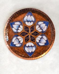 "Copper Enamel Wall Plate ""Brown lotus in the petal - L"" by Ekibeki"