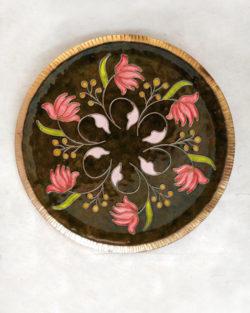 "Copper Enamel Wall Plate ""Brown Swirling lotus - L"" by Ekibeki"
