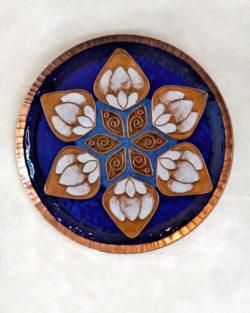 """Copper Enamel Wall Plate """"Blue lotus in the petal - L"""" by Ekibeki"""
