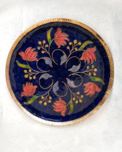 """Copper Enamel Wall Plate """"Blue Swirling lotus - L"""" by Ekibeki"""
