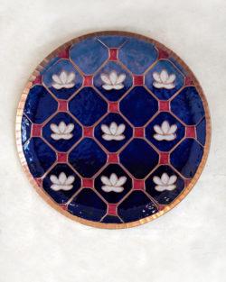 """Copper Enamel Wall Plate """"Blue lotus in a jali- L"""" by Ekibeki"""