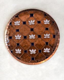 "Copper Enamel Wall Plate ""Brown lotus in a jali- L"" by Ekibeki"