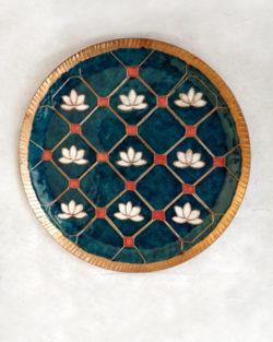 """Copper Enamel Wall Plate """"Green lotus in a jali- L"""" by Ekibeki"""