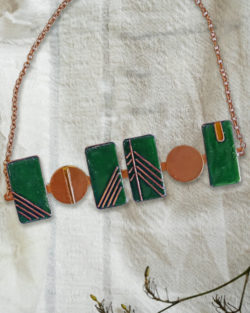 Prairie Necklace by Ekibeki - Statement Necklace inspired by the colours and geometry of architect Frank Lloyd Wright handcrafted in Copper Enamel