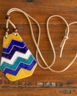Retro Style copper enamel pendant with faux leather string and wooden beads