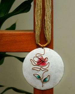 White rose copper enamel pendant with jute adjustable string