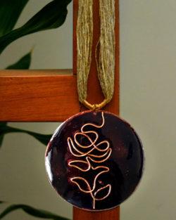 Black rose copper enamel pendant with jute adjustable string