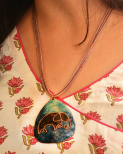 Blue elephant copper enamel pendant with cotton string