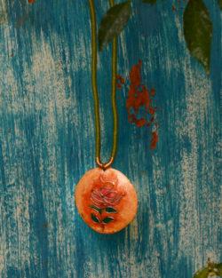 Orange tree pendant with hand woven cotton string